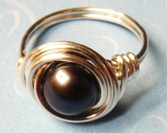 Black Pearl Ring, Black Ring, Black Freshwater Pearl, Sterling Silver, Wire Wrapped Ring, Sterling Silver Ring, Black Pearl Jewelry