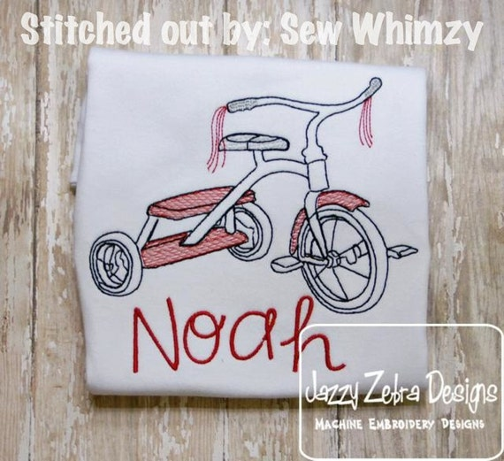 Tricycle Sketch Embroidery Design - bike Sketch Embroidery Design - bicycle Sketch Embroidery Design - boy Sketch Embroidery Design - girl