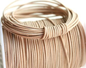1mm Round Natural Leather cord - Natural Beige - 10 feet, LC034