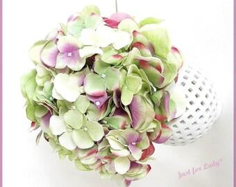 Wedding - fabric flowers, hydrangeas bouquet... Green, purple, pink...-wedding-Wedding