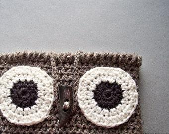 Crochet Owl Bag Crochet Owl Decor, Owl iPad Case,  iPad Cover, Crochet Owl Purse, iPad Sleeve, Tablet Case, Owl Bag Crochet Rustic Owl Gifts