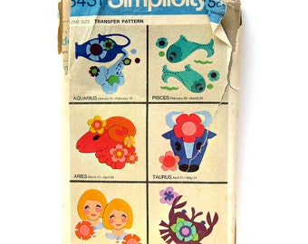 1960s Set of Transfers for Appliquing Signs of the Zodiac - Simplicity 8431 - UNCUT