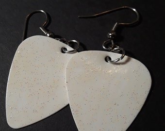 White Stardust Guitar Pick Earrings