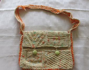 Hand knitted Yellow fleck satchel