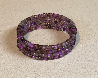 Purple bead memory wire bracelet