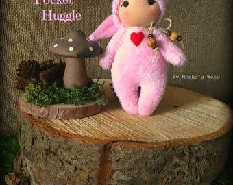 Pink Pocket Huggle - Waldorf Inspired Toy - Valentines - Love
