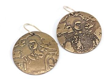Reclaimed Bronze Two Fridas Frida Kahlo Earrings