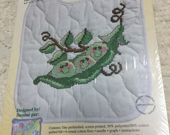 Janlynn Stamped Cross Stitch Bib Kit - Pea Pod Pals