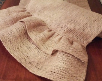 Burlap Table Runner with Burlap Double Ruffled Ends