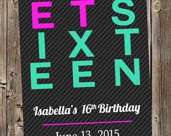 Birthday Invitation- Sweet Sixteen - Bold & Neon