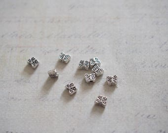 10 mini Butterfly silver-plated 2x5mm beads