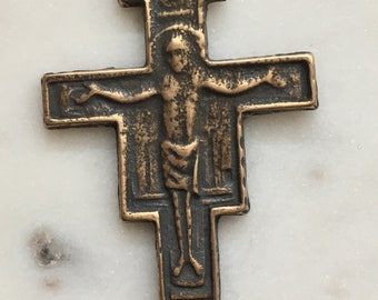 Large San Damiano Crucifix Pendant - Sterling Silver - Antique Reproduction 789