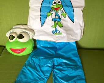 Vintage 80s Ben Cooper Halloween Muppets Baby Kermit Mask and Costume Size 6-8 Child 41in to 46in Tall with Original Box
