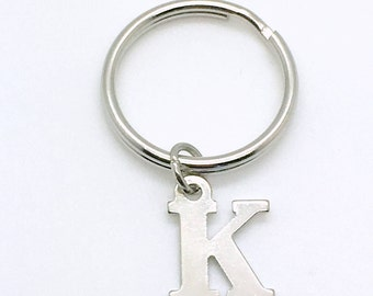 Letter Keychain, Your choice of Initial, Personalized Custom Key Chain, Customized Keyring, Key Ring Charm Silver plated A B C D E H J K M S