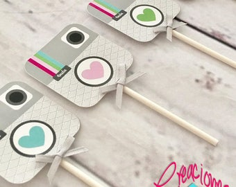 12, 18, 24 or 30 Instagram Cupcake Toppers, Instagram Birthday, Instagram Party, Social Media Cupcake Toppers