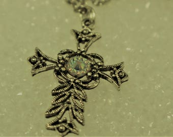 Silver Filigree Cross with Rhinestone
