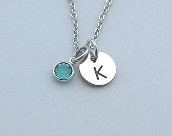 Stainless Steel Initial Necklace, Personalized Jewelry, Birthstone, Best Friends, Bestfriend, Mother Necklace, Bridal Party, Sister,