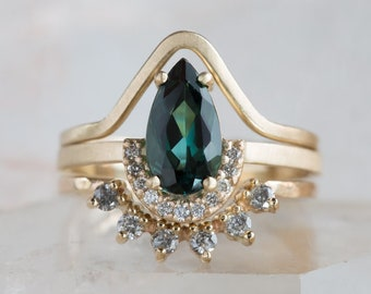 One of a Kind Teal Tourmaline Ring with Half Halo
