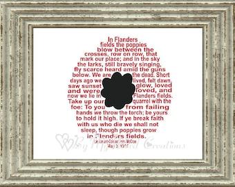 Poppy Word Art, In Flanders Fields Word Art, Veteran Gift, Veterans Day, Remembrance Day, Memorial Day, Word Art Typography,  DIGITAL FILE