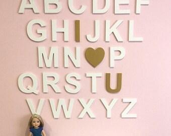 Nursery Decor - Wooden Heart Alphabet - Nursery Alphabet Art - ABC Sign