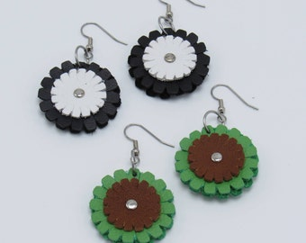 Leather Double Daisy Earrings - Various Colors