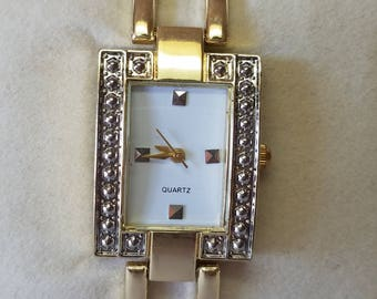 Vintage Gold Tone Quartz Ladies Watch, Triangle Shaped, Marasite Quartz Watch, Square Shaped Links, Chinese Movement, Stainless Steel Back
