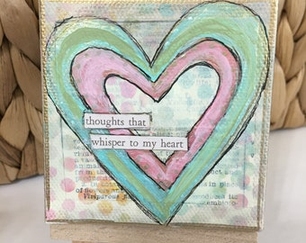 Small Canvas,Thoughts that whisper to my heart, 3x3 Canvas and Easel, Acrylic Paintings, Affirmation Art, Inspirational Art, Office Desk