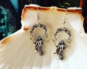 Silver Swinging Mermaid Earrings