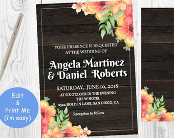 Rustic Floral Wedding Invitation Template - Country Template Printable Invite - Rustic Florals Orange Wood Card - Instant Download Editable