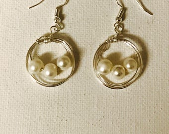 Triple Pearl Silver Wire Bird Nest Dangling Earrings