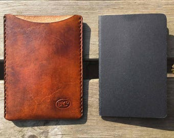 Leather notebook sleeve for Moleskine notebook
