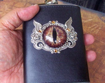 Steampunk Dragon Eye Flask (F704) Brown Gold Sparkle Hand Painted Eye, 8 Oz Stainless Steel, Leather Wrap, Silver Plated Hardware, Crystals