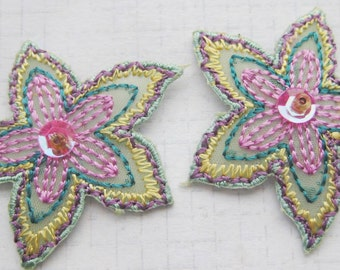 Lilac and Pastel green Floral Iron On Applique  3 small pieces 3.5 cm