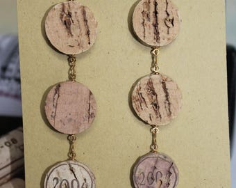 Light weight long dangle Recycled Wine Cork Earrings with Turquoise  2004 vintage