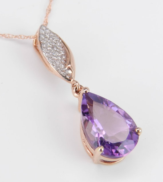 "Diamond and Amethyst Drop Necklace Purple Pendant 18"" 14K Rose Gold Chain February Birthday"