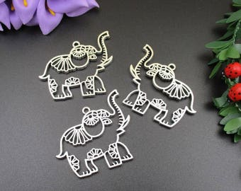 3Pcs 50x41mm Big Elephant Charms 2 Sided-p1740