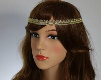 Gift for her,Lace Headband,Wedding Headband, Beaded Hiedpiece,Gold  Headband,Gatsby Headpiece, Boho Heanband, Bridal Headpiece,Cristmas gift