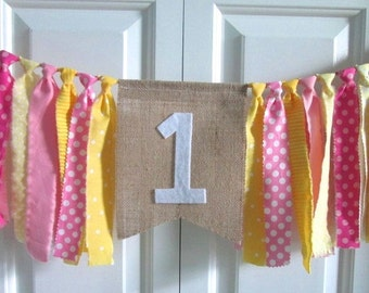 Pink Lemonade High Chair Banner ~Birthday Banner ~Rag Tie Garland ~Rag Banner ~1st Birthday ~photo prop ~Pink Yellow ~Burlap Banner