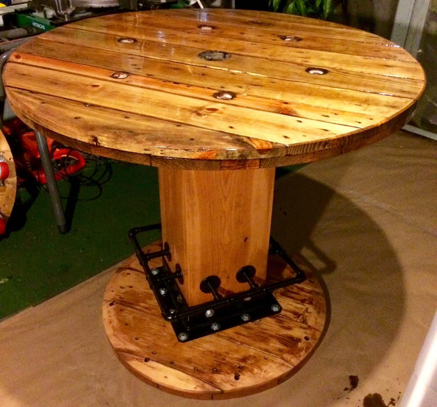Wire spool table high top for Wire reel furniture