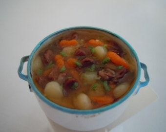 Miniature Stew ~ Soup ~ Artisan ~ Vegetables ~ Rustic Pot ~ Food ~ Dinner ~ Cooking ~ Miniature ~ Fairy garden ~ Dollhouse ~ Accessories