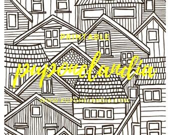 Printable illustration, Printable Art, Mandala printable, Printable Houses sketch, Black and white illustration, Printable Town Illustration