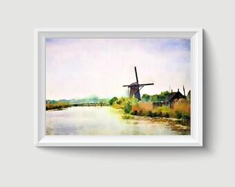 Kinderdijk the Netherlands Watercolor Painting Art Printable Q07