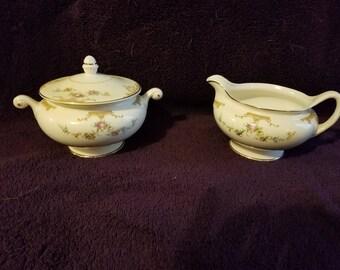 Vintage Eggshell Sugar Bowl and Creamer