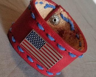 Buck laced leather cuff with American flag
