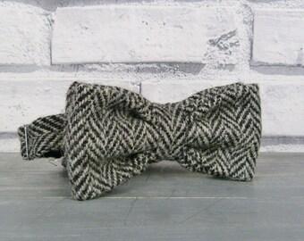 Harris Tweed Bow Tie - Black/Grey herringbone weave