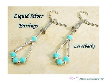 Liquid Silver Earrings, Leverback Earrings, Southwestern Jewelry - E2010-31