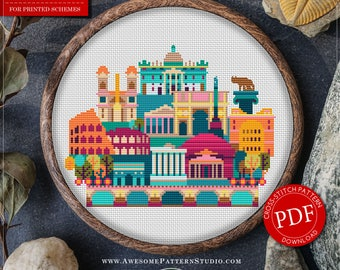 Rome  Cross Stitch Pattern for Instant Download *P141 | Easy Cross Stitch| Counted Cross Stitch|Embroidery Design| City Cross Stitch