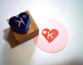 Monogram rubber stamp//heart hand carved stamp