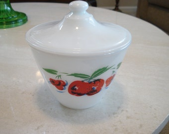 Fire King Apples Grease Jar with Lid    Excellent Condition