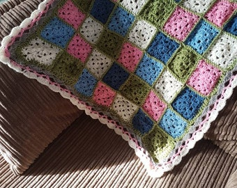 Patchwork blanket/ square blanket/ Lap blanket/ throw/ blanket/ crocheted blanket/ handmade blanket